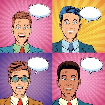 Pop art surprised businessmen faces cartoon