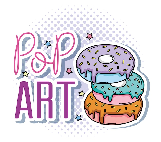 Поп-арт сладкие пончики мультяшные векторные иллюстрации графический дизайн