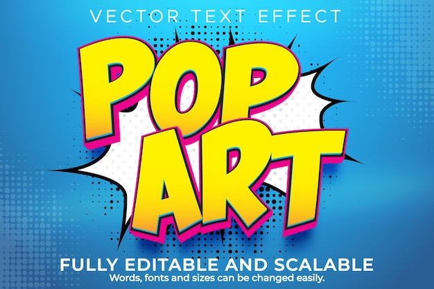Pop art text effect editable retro and vintage text style
