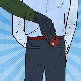 Pop art thief stealing wallet from man pocket