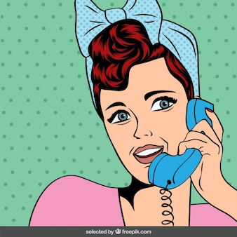 Pop art woman in chat sul telefono cellulare
