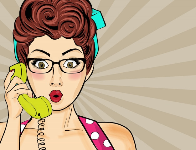 Pop art  woman chatting on retro phone