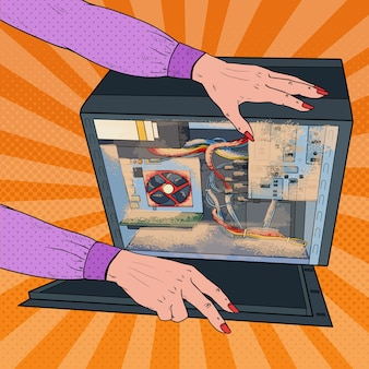 Pcシステムユニットのポップアートの女性のクリーニングダスト。女性技術者メンテナンスコンピュータ。