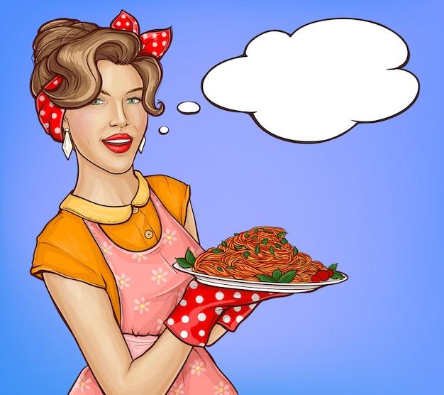 Поп-арт женщина держит поднос с макаронами и соусом иллюстрации