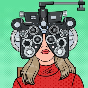 Pop art woman patient at optometric clinic with optical phoropter