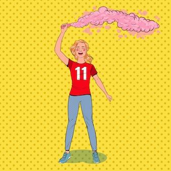 Поп-арт женщина футбольный фанат празднует победу любимой команды