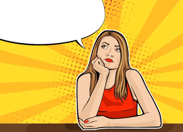 Pop art woman thought, quiet reflection with speech bubble