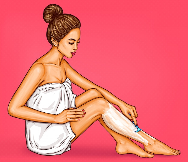 Pop art woman in a white bath towel shaves her legs with a safety razor