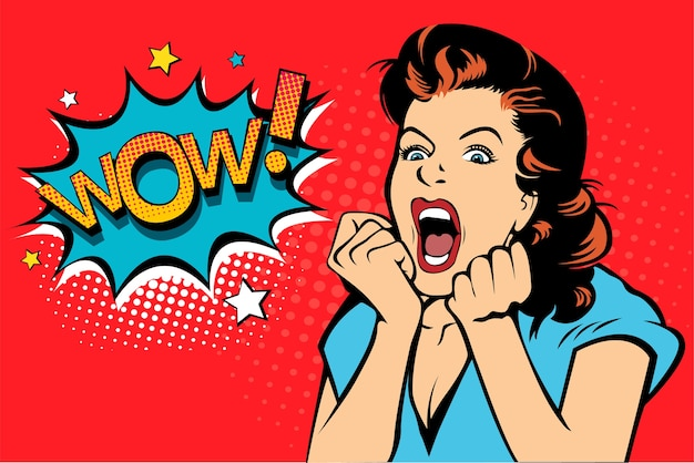 Pop art woman with open mouth screaming.