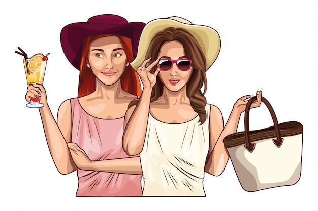 Pop art women friends smiling cartoon