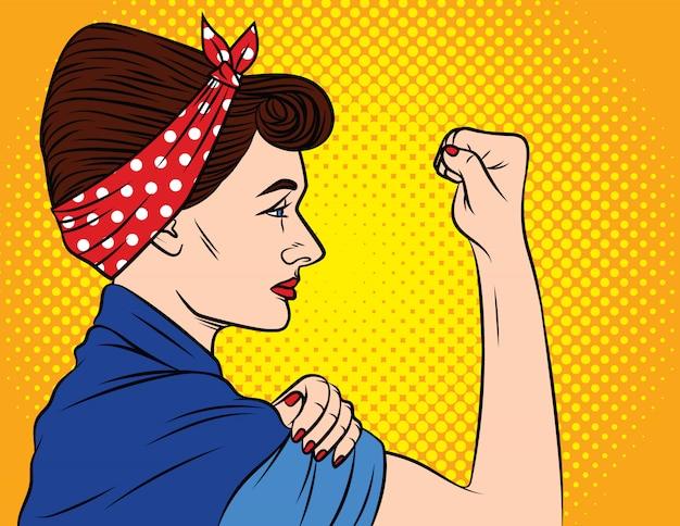 ポップアートの女性の権利。女性のフェミニズム、女性の力。頭に包帯を巻いた女性は拳を見せ続けます。若い女性は抗議を示しています