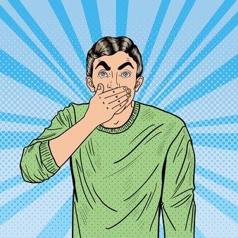 ポップアート心配の男はショックで彼の口を閉じます