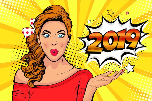 Pop art wow face of caucasian young girl with 2019 number as a new year poster or banner