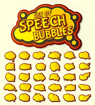 Pop art yellow speech bubbles set