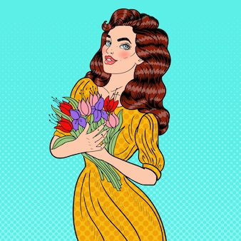 Pop art young beautiful woman holding bouquet of flowers.