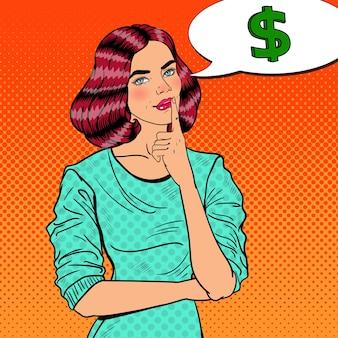 Поп-арт молодая красивая женщина думает о деньгах.