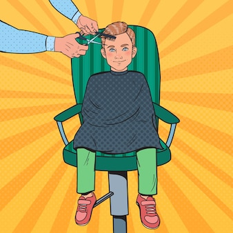 Pop art young boy getting a haircut