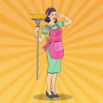Pop art young confident housewife woman cleaning house with mop.  illustration