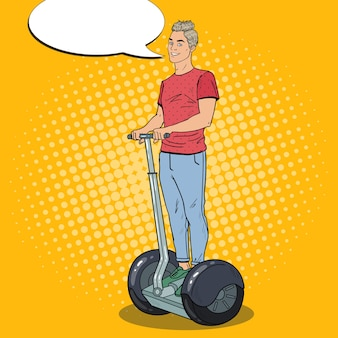 Pop art young man driving segway