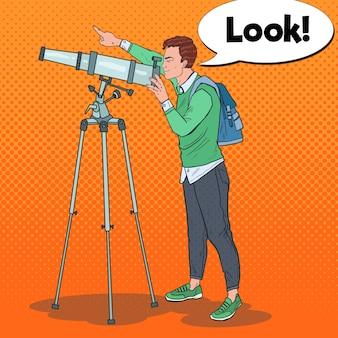 Поп-арт молодой человек смотрит через телескоп на небо