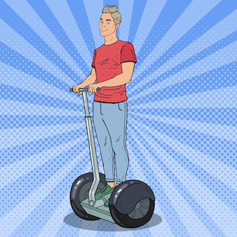 Pop art young man riding segway