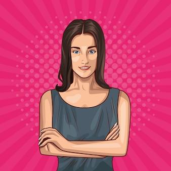 Pop art young woman cartoon
