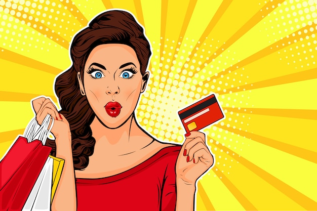 Pop art young woman holding shopping bags and credit card