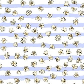 Поп-кукуруза и картофель фри рисованной бесшовные модели фаст-фуд эскиз вектор фон еда текстиль ...