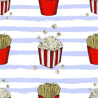 팝 옥수수와 감자 튀김 손으로 그린 원활한 패턴 패스트 푸드 스케치 벡터 배경 식품 섬유... 프리미엄 벡터