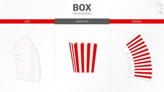 ポップコーンボックスのパッケージとダイカットテンプレート
