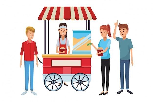Pop corn cart cartoon