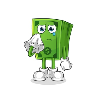 Pop corn cry with a tissue  character. cartoon mascot