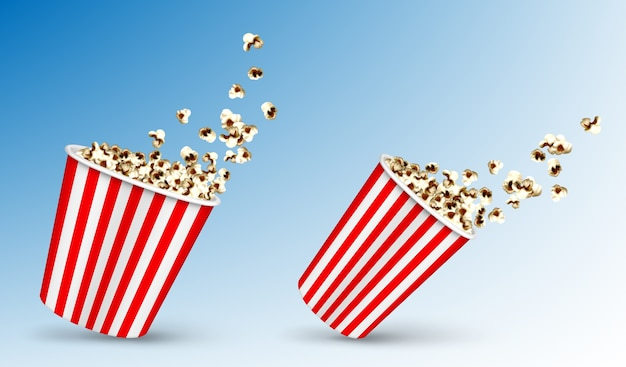 Pop corn flying out of carton disposable striped package
