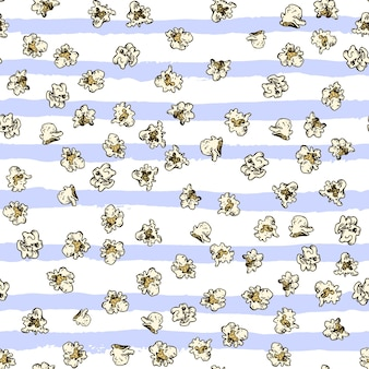 Pop corn and french fries hand drawn seamless pattern fast food sketch vector background food textil...