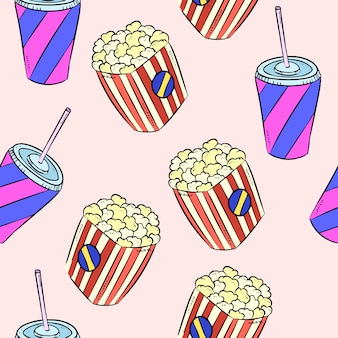 Pop corn and soda doodles colorful seamless pattern