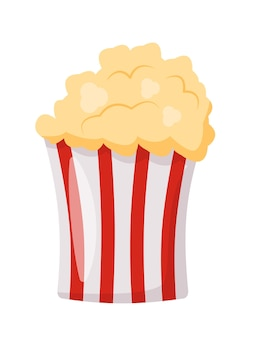 Pop corn striped pack fast food snack on white background