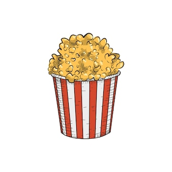 Pop corn in vintage hand drawn style.  ready to use in any need.