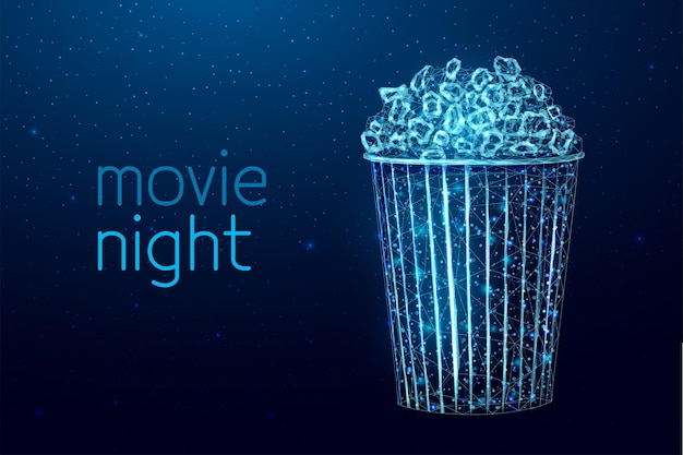 Pop corn wireframe. movie night poster template with glowing low poly tasty snack. vector illustration.