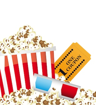 Pop corn with 3d glasses and ticket vector illustration