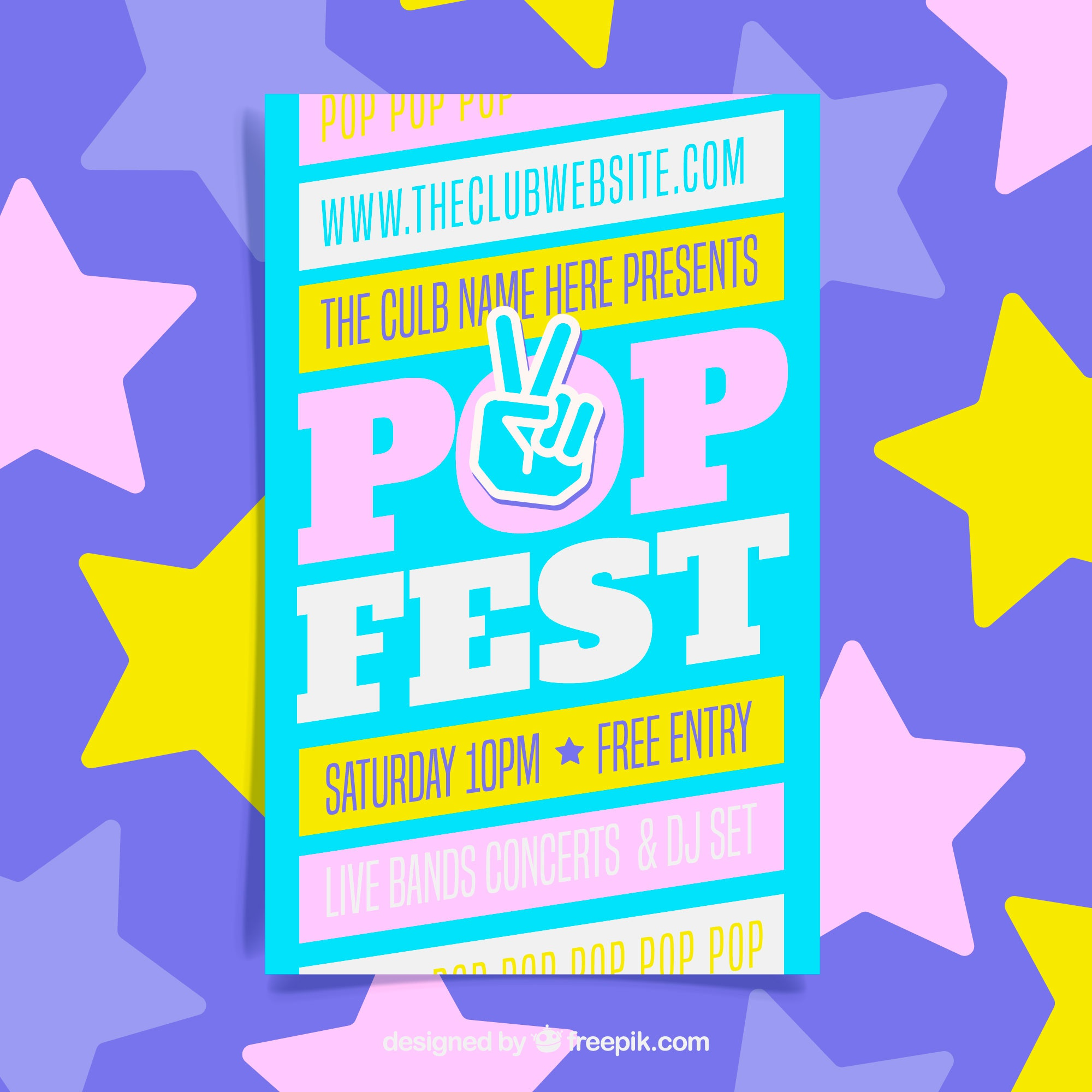 Pop Festival poster in flat style