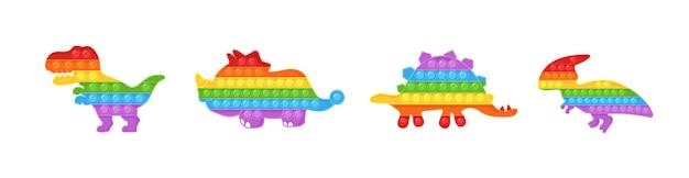 Pop it fidget. set of dinosaur shaped antistress children game.