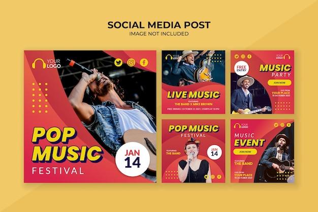 Pop music festival social media post template
