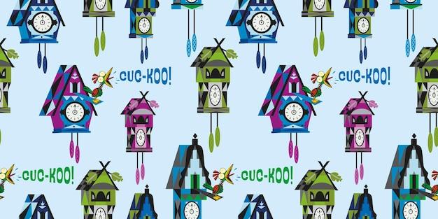 Выскакивающая иллюстрация картины настенных часов птицы с подвесным дизайном маятника
