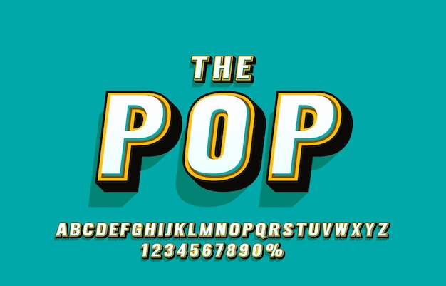 Pop retro font and numbers set
