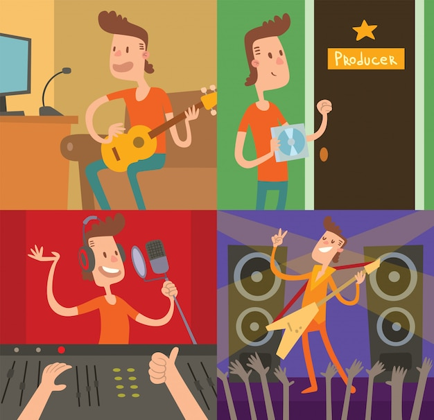 Pop star young boy success way vector illustration