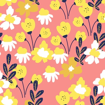 Pop style floral seamless pattern