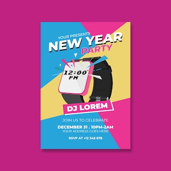 Pop style new year party flyer