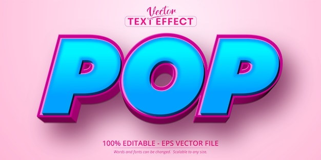 Pop text, cartoon style editable text effect
