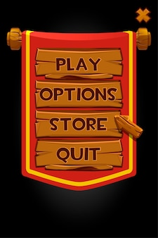 Pop up banner wood panels and red flag for game.  illustration of a custom menu window, wooden buttons and arrow.