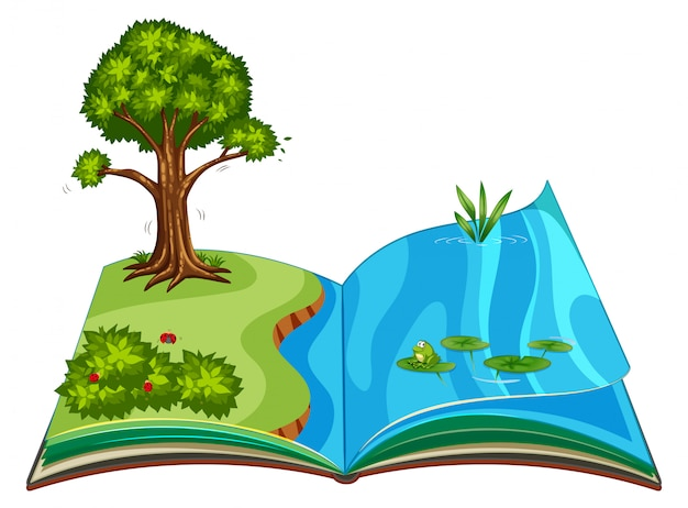 Pop up book with outdoor nature scene